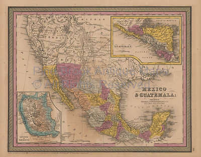 Mexico Antique Map Mitchell Cowperthwait 1852 Original