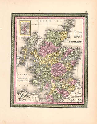 Scotland Vintage Map DeSilver 1855 Original