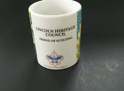VTG. Boy Scouts BSA Coffee Cup Lincoln Heritage Council Friend of Scouting USA