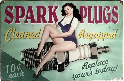 SPARK PLUGS Cleaned & Regapped 10c ea  Memorabilia Metal tin Sign