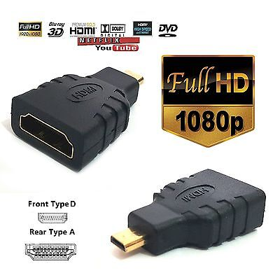 HDMI Female to Micro HDMI Type D Male Adapter F/M Converter Conecter HD TV GOLD4