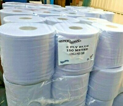 Tissue Wipes Blue Centrefeed Paper Roll 190mm x 150M Commercial Industrial Home