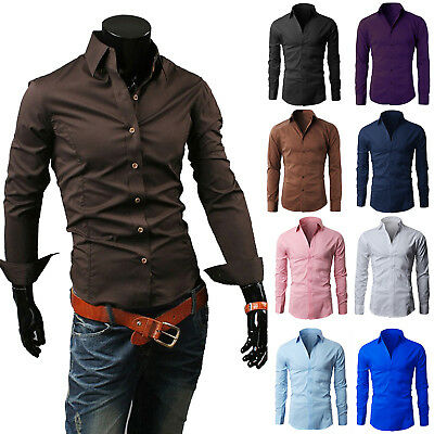 New Fashion Luxury Mens Formal Casual Suits Slim Fit Dress Shirts 15 Colours