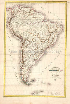 South America Antique Map DuFour 1836 Original