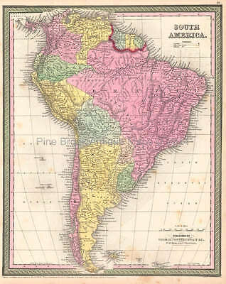 South American Continent Antique Map DeSilver 1854 Original