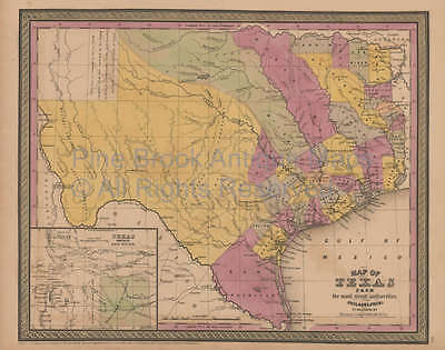 Texas Antique Map Mitchell Cowperthwait 1852 Original