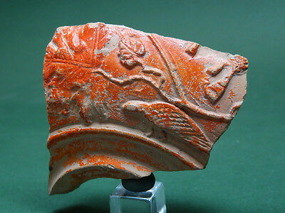 ANCIENT NIGHTINGALE & VINE IMAGE MOLDED TERRACOTTA FRAGMENT ROMAN 2nd CENTURY AD