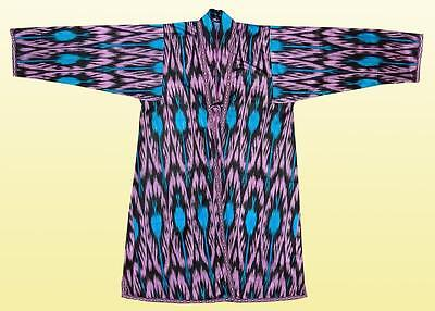 Uzbek Beautiful Handmade Natural Cotton Ikat Robe Chapan A7732
