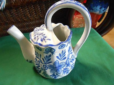 """Magnificent  Blue and White Ironstone China """"Watering Can""""  TEA POT..."""
