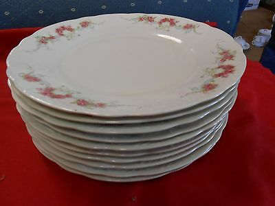 Beautiful ELBOGEN China-Pink Flowers-Made in AUSTRIA-10 DINNER.PLATES..9.5""