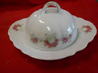 Beautiful ELBOGEN China-Pink Flowers-Made in AUSTRIA-  BUTTER DISH with DOME