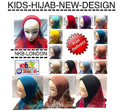 Muslim Kids Girls Hijab Islamic Headscarf Lace Head Scarf Kids Readymade Hijab