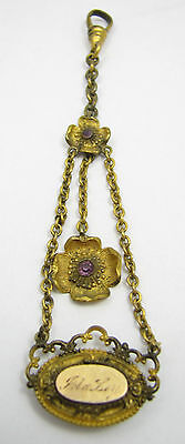 Antique Gold Filled Purple Stone Flower Ladies Pocket Watch Chain Brooch Pin