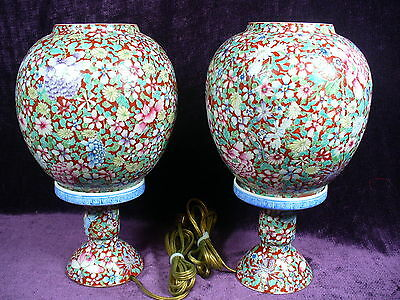 Pr Antique Chinese famille rose porcelain egg shell lantern lamps