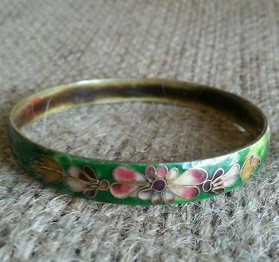 Antique Old  Chinese Cloisonne Copper Bangle Bracelet Used