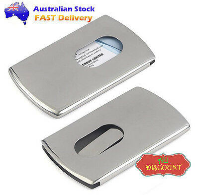 H Stainless Steel Business Credit Driver ID Cards Case Holder Cover Silver Metal