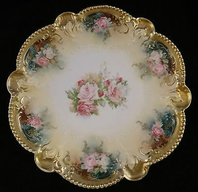"""Antique RS Prussia Dish w/Roses and heavy gold trim. Red Mark. 8 ½"""" d."""