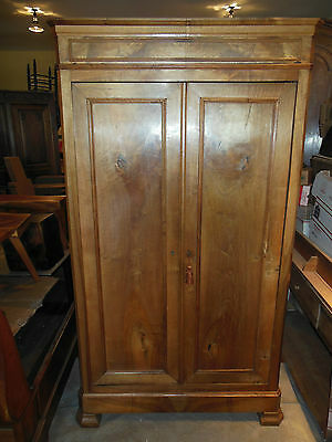 "Antique French LOUIS PHILIPPE Walnut Armoire Beautiful Wood H 84"" x W 46"" 1850's"