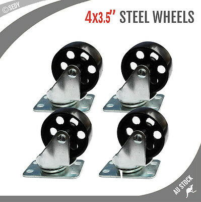 4x 3.5'' 90MM HEAVY DUTY STEEL CASTOR WHEELS SWIVEL STEEL CASTER WHEELS 2000 KG