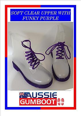 Funky Urban Gumboots Clear Purple Sole Laces Size 5 6 7 8 9 10 - Ladies Wellies