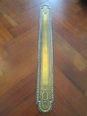 Large Old French Decorative Brass Finger Door Plate