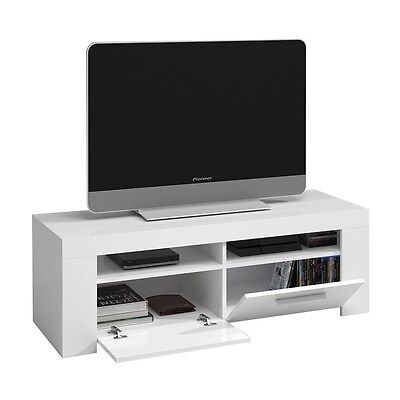 Mueble de comedor salon TV, modulo salón moderno, color  Blanco Brillo, Ambit