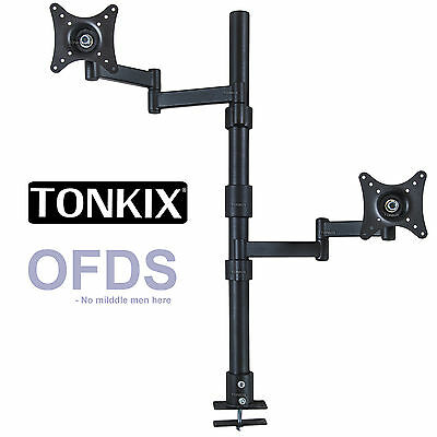 Vertical dual monitor stand 2 4 6 quad LED LCD double single bracket screw mount
