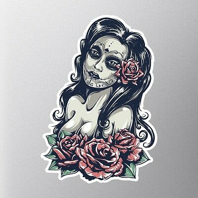DAY OF THE DEAD GIRL STICKER #8 small, lady skull, sugar skull