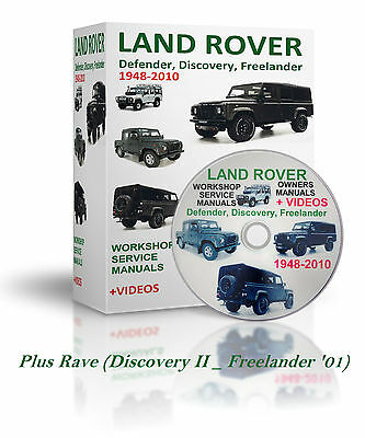 1948-2010 LAND ROVER Defender Discovery, Freelander SERVICE MANUALS & VIDEOS DVD