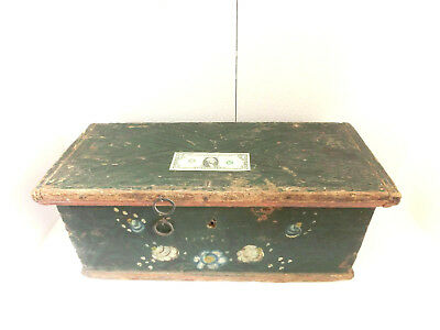 19thC Antique PRIMITIVE Folk Art FLOWER PAINTING Old FLAT TOP Chest TRAVEL TRUNK