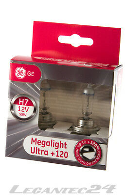 2er Set H7 12Volt 55Watt PX26d GE General Electric Megalight Ultra +120% 12V 55W