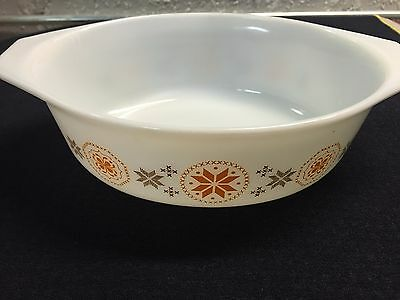 Vintage PYREX Town & Country 1 1/2 QT Oval Casserole Brown Orange Design # 043