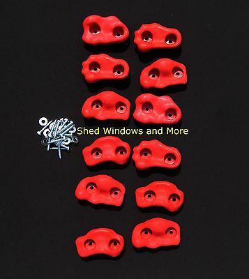 Rock Holds Red Color Set of 12 W/hardware Rock Wall Climbing Rocks Playgrounds