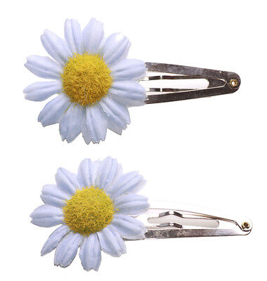 Flower Power Pair of Blush Pink Daisy Blossoms Metal 7cm Hair Clips Zx117