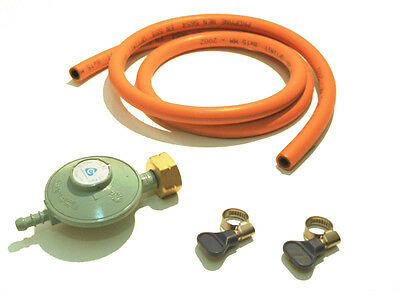 Hose and Pressure reducer Gas heater Gas oven Grill 30 millibar 8 mm inside NIP