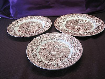 RED-TRANSFERWARE-3 plates 3 sizes -EIT-KINGSWOOD-SHEEP-ENGLAND-IRONSTONE