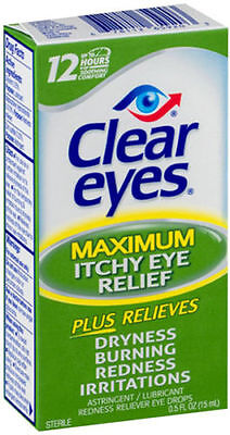 5 Pack - Clear Eyes Itchy Eye Relief Drops 0.50oz Each