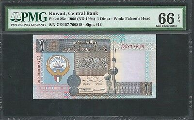 Kuwait 1968 (ND 1994) P-25e PMG Gem UNC 66 EPQ 1 Dinar *Sign. #13*
