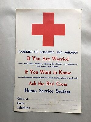 American Red Cross Poster Home Services Section Authentic Antique Vintage