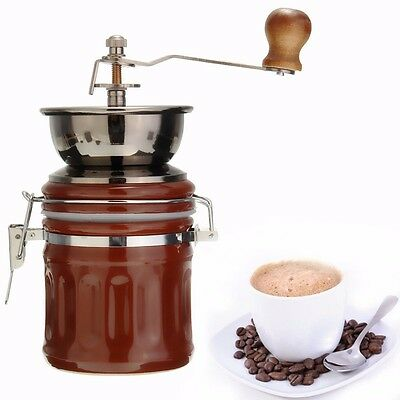 Retro Stainless Ceramic Manual Coffee Bean Grinder Nut Mill Hand Grinding Tool