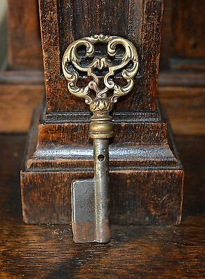 Antique French Ornate Bronze Key Blank Uncut