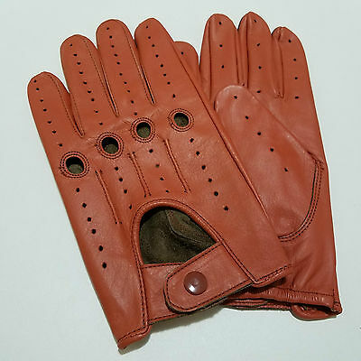 Men's Orange Driving Gloves Real Leather Top Quality Soft Leather