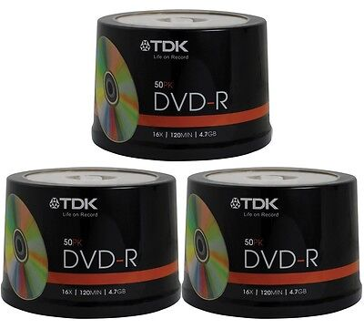 150 pack TDK Gold Series DVD-R 4.7Gb 16X Blank Recordable Discs Spindle