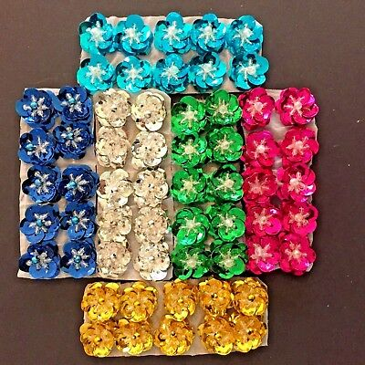 Pack of 10 Single Sequin 3D Flower Petal Beaded Stage Costume Dance Ballet Tutu