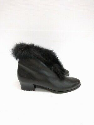 Size 37 Vintage Ladies Black Leather Grunge Rock Ankle boots with Fur trims made