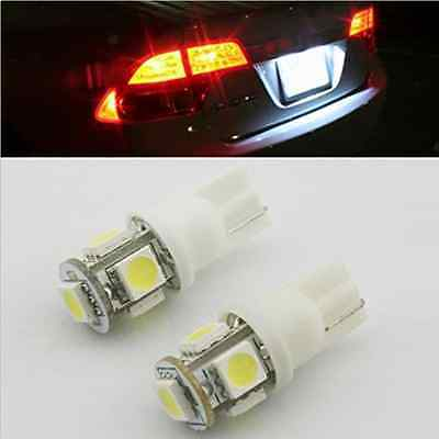 2 x T10 LED Light Bulbs HID White 360°5-SMD 168 194 2825 For License Plate