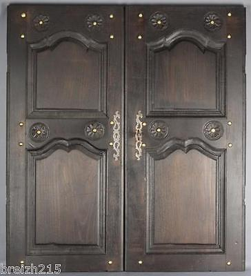 Pair of Antique French Carved  wood Panel Door