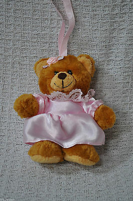 Small Stuffed Brown Bear with a Pink Bridesmaid Dress Approx 6 inches Tall