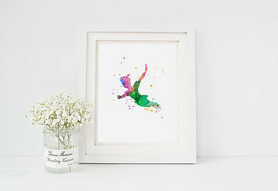 PETER PAN Watercolor Splatter Disney Nursery Decor Wall Art Print Poster 8x10