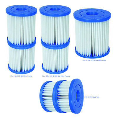 Bestway Twin Pack Swimming Pools & Lay-Z-Spas Filter Pump Cartridges Size I & Ii